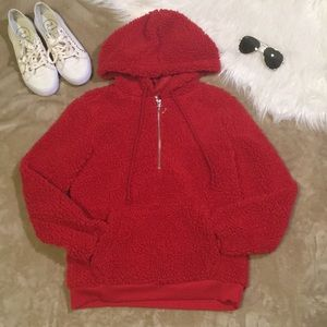 Tops - Red Fuzzy Hoodie